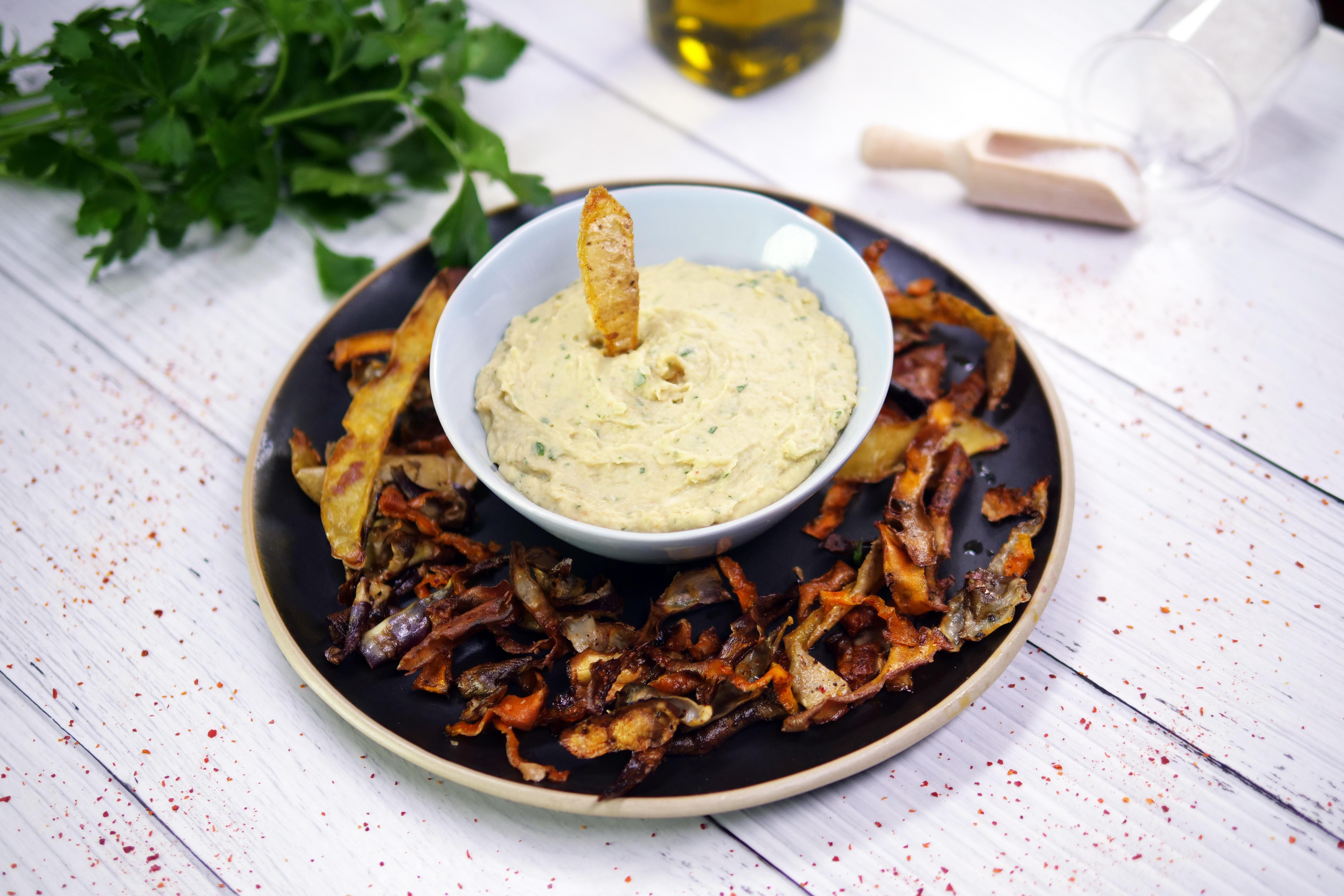 recette-chips-epluchures-tartinade-haricot-blanc